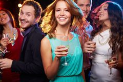 Девушка с шампанским Стоковое Изображение