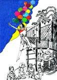Девушка с шариками Стоковая Фотография