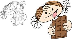 Девушка с шоколадом иллюстрация штока