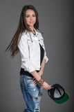 Девушка с шлемом Стоковые Изображения RF