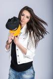 Девушка с шлемом Стоковое Фото