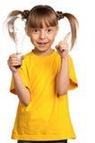 Девушка с электрической лампочкой Стоковые Изображения