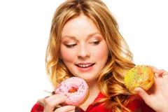 Девушка с 2 donuts Стоковые Изображения RF