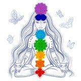 Девушка с 7 chakras иллюстрация штока