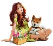 Девушка с inu Shiba собаки иллюстрация штока