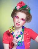 Девушка с Lollipop стоковое изображение