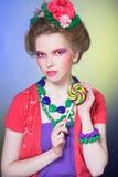 Девушка с Lollipop стоковое фото rf