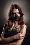 Девушка с makup на черной предпосылке стоковое изображение