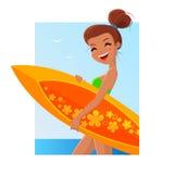 Девушка с surfboard иллюстрация штока