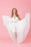 Девушка танцев в белом платье Стоковые Фотографии RF