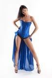 Девушка танцора платья элегантности голубая С белой предпосылкой стоковые изображения rf