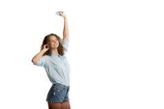 Девушка танцует с игроком Стоковое Изображение RF