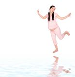 девушка танцы супоросая стоковая фотография