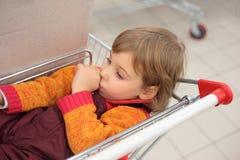 девушка тележки лежит немногая магазин Стоковое Изображение