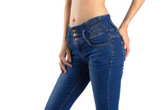Девушка тела сексуальная в джинсах Стоковое Изображение RF