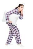 Девушка тихо идет спать, носит будильник Стоковое Изображение RF