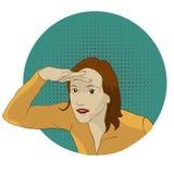 Девушка тщательно всматривается в расстояние из-под ее руки стиль искусства шипучки стоковая фотография rf