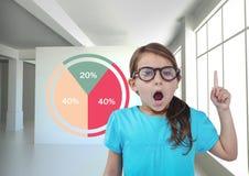 Девушка удивленная при красочные статистик диаграммы указывая вверх Стоковые Изображения RF