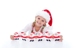 девушка украшения рождества счастливая стоковое фото rf