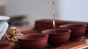 Девушка умело и наблюдающ всеми правилами церемонии чая льет в небольшие чашки чаю акции видеоматериалы