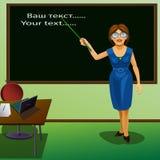 Девушка учителя с стеклами и указателем Стоковое Изображение RF
