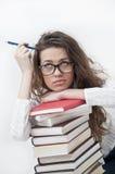 девушка учя милого студента стоковые фото