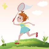 Девушка улавливает бабочек сеть Стоковое Изображение RF