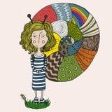 Девушка улитки иллюстрация штока