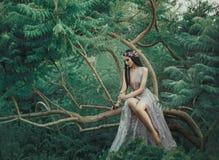 Девушка фантазии в fairy саде Стоковое Фото