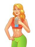 Девушка фитнеса вектора от спортзала выпивает воду Иллюстрация вектора