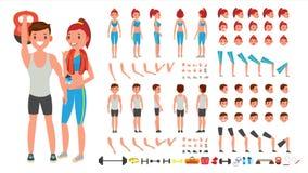 Девушка фитнеса, вектор человека Оживленный мужчина спорта, комплект творения женского характера Во всю длину, фронт, сторона, за иллюстрация вектора