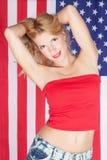 девушка флага американской предпосылки белокурая Стоковые Изображения RF