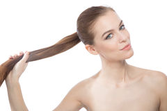 Девушка фотомодели красоты с длинными здоровыми волосами Стоковые Изображения RF