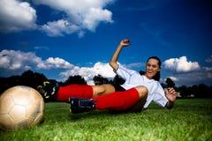 Девушка футбола стоковая фотография rf