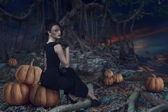 Девушка хеллоуина в темном лесе стоковые изображения
