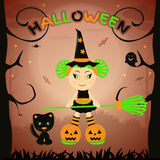 Девушка хеллоуина, костюм хеллоуина, вектор хеллоуина Стоковое фото RF