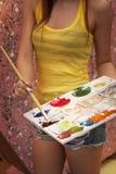 Девушка художника стоковая фотография