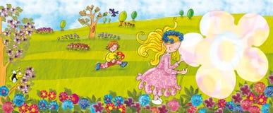Девушка цветка ландшафта весны держа цветок Стоковые Изображения