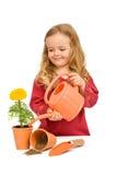 девушка цветка немногая potted мочить Стоковая Фотография