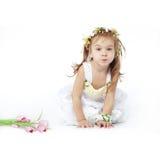 девушка цветка платья немногая Стоковое Изображение RF