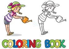Девушка цветки иллюстрация графика расцветки книги цветастая Стоковые Фотографии RF