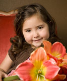 девушка цветков немногая Стоковые Фотографии RF