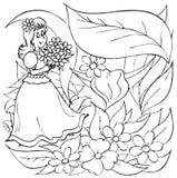 девушка цветков немногая Иллюстрация вектора