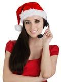 Девушка центра телефонного обслуживания рождества Стоковые Фото