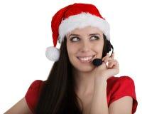 Девушка центра телефонного обслуживания рождества Стоковые Фотографии RF