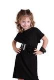 девушка черного платья модная немногая стоковая фотография rf