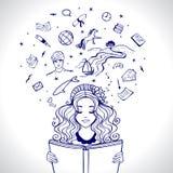 Девушка читает иллюстрация вектора
