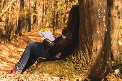 Девушка читая книгу в лесе стоковая фотография rf