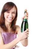 девушка шампанского бутылки Стоковое фото RF