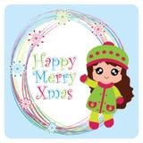 Девушка шаржа вектора милая на рамке снежинок Стоковое Фото